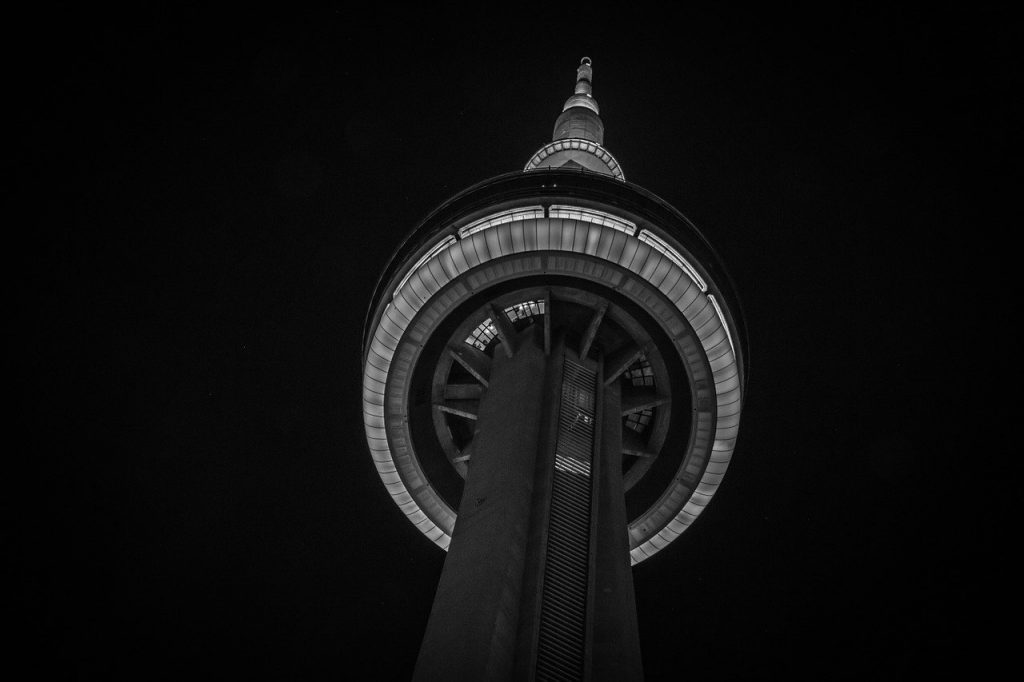 toronto, cn tower, black and white